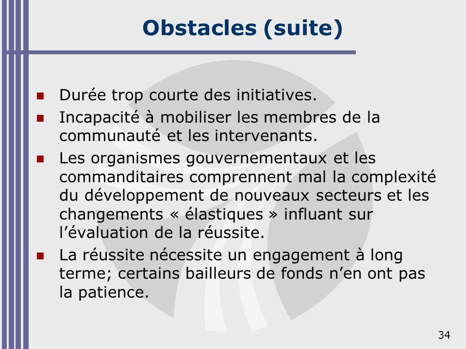 34 Obstacles (suite) Durée trop courte des initiatives. Incapacité à mobiliser les membres de la communauté et les intervenants. Les organismes gouver