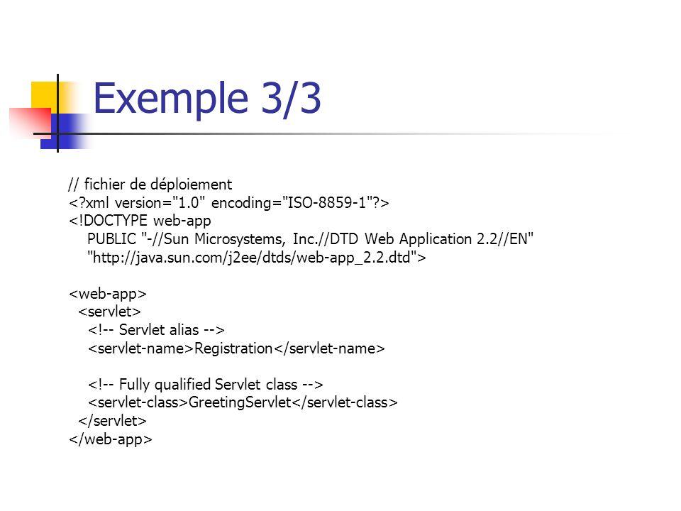 Exemple 3/3 // fichier de déploiement <!DOCTYPE web-app PUBLIC -//Sun Microsystems, Inc.//DTD Web Application 2.2//EN http://java.sun.com/j2ee/dtds/web-app_2.2.dtd > Registration GreetingServlet