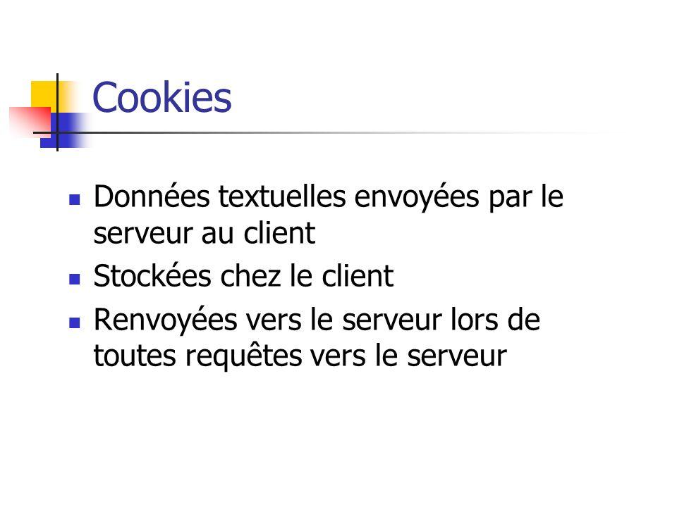 Cookies Données textuelles envoyées par le serveur au client Stockées chez le client Renvoyées vers le serveur lors de toutes requêtes vers le serveur