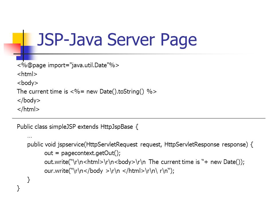 JSP-Java Server Page The current time is Public class simpleJSP extends HttpJspBase { … public void jspservice(HttpServletRequest request, HttpServletResponse response) { out = pagecontext.getOut(); out.write(\r\n \r\n \r\n The current time is + new Date()); our.write(\r\n \r\n \r\n\ r\n); }
