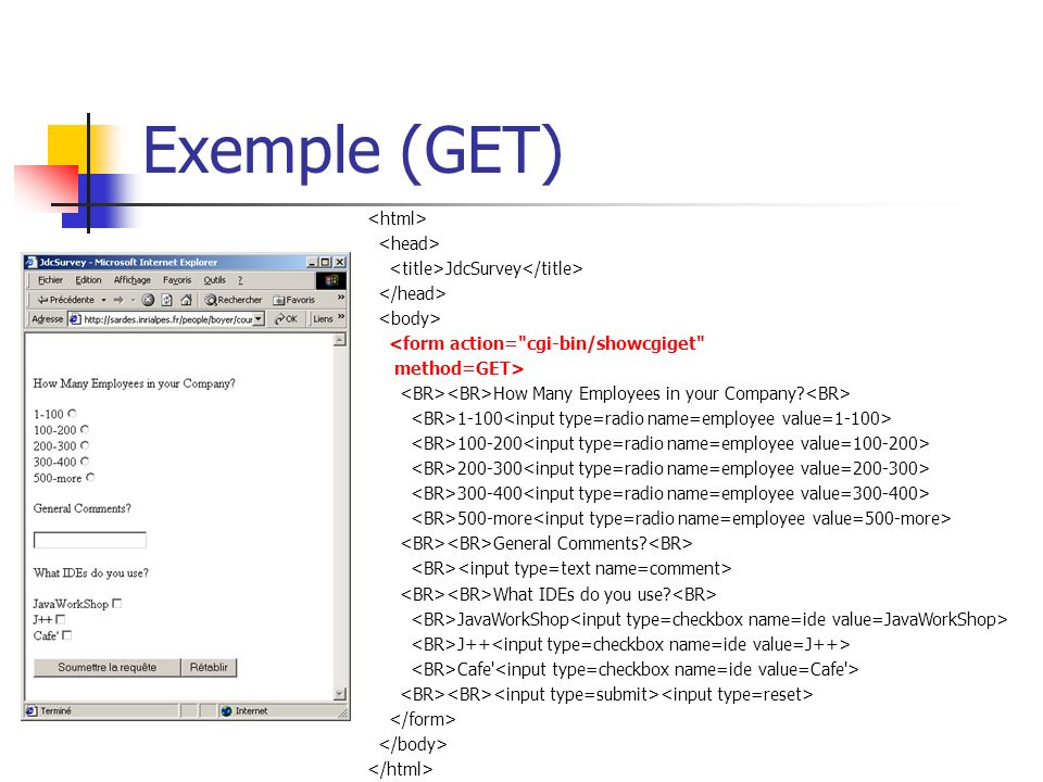 Exemple (GET) JdcSurvey <form action= cgi-bin/showcgiget method=GET> How Many Employees in your Company.