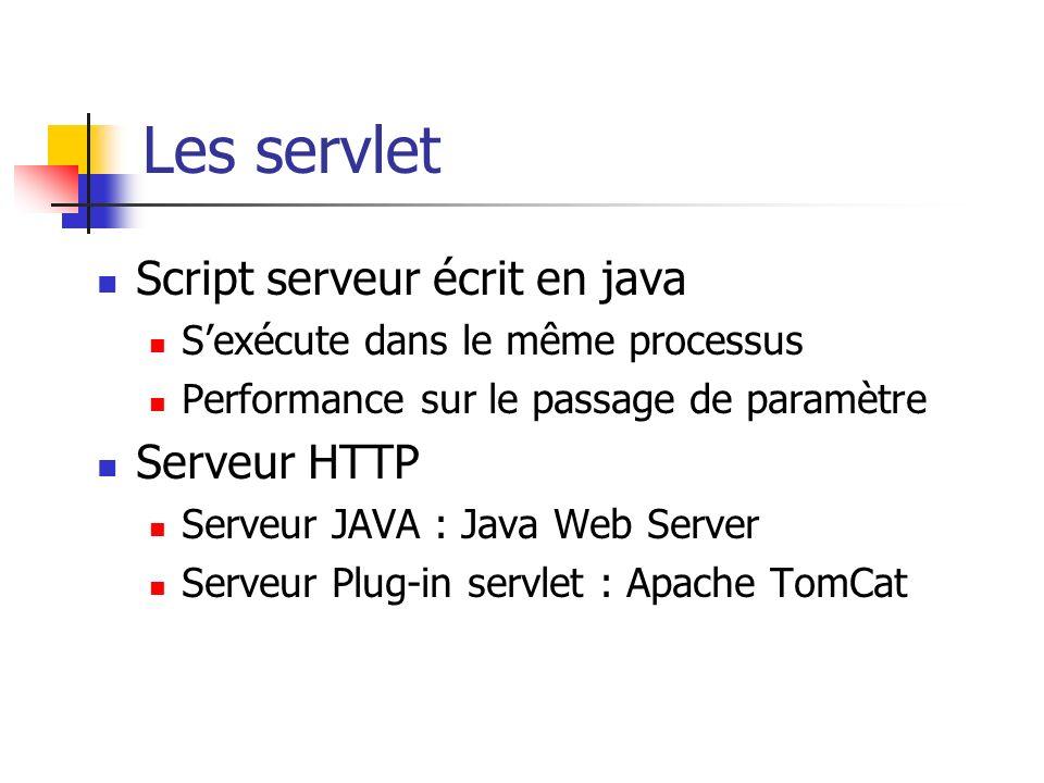 Les servlet Script serveur écrit en java Sexécute dans le même processus Performance sur le passage de paramètre Serveur HTTP Serveur JAVA : Java Web Server Serveur Plug-in servlet : Apache TomCat