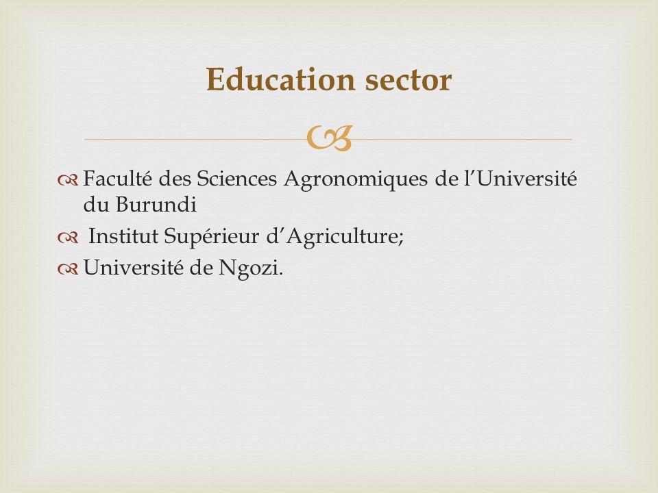 Faculté des Sciences Agronomiques de lUniversité du Burundi Institut Supérieur dAgriculture; Université de Ngozi.