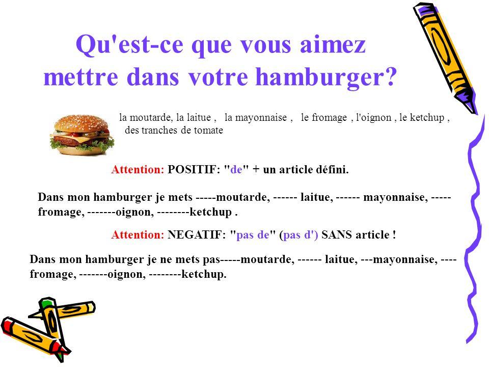 Qu'est-ce que vous aimez mettre dans votre hamburger? la moutarde, la laitue, la mayonnaise, le fromage, l'oignon, le ketchup, des tranches de tomate