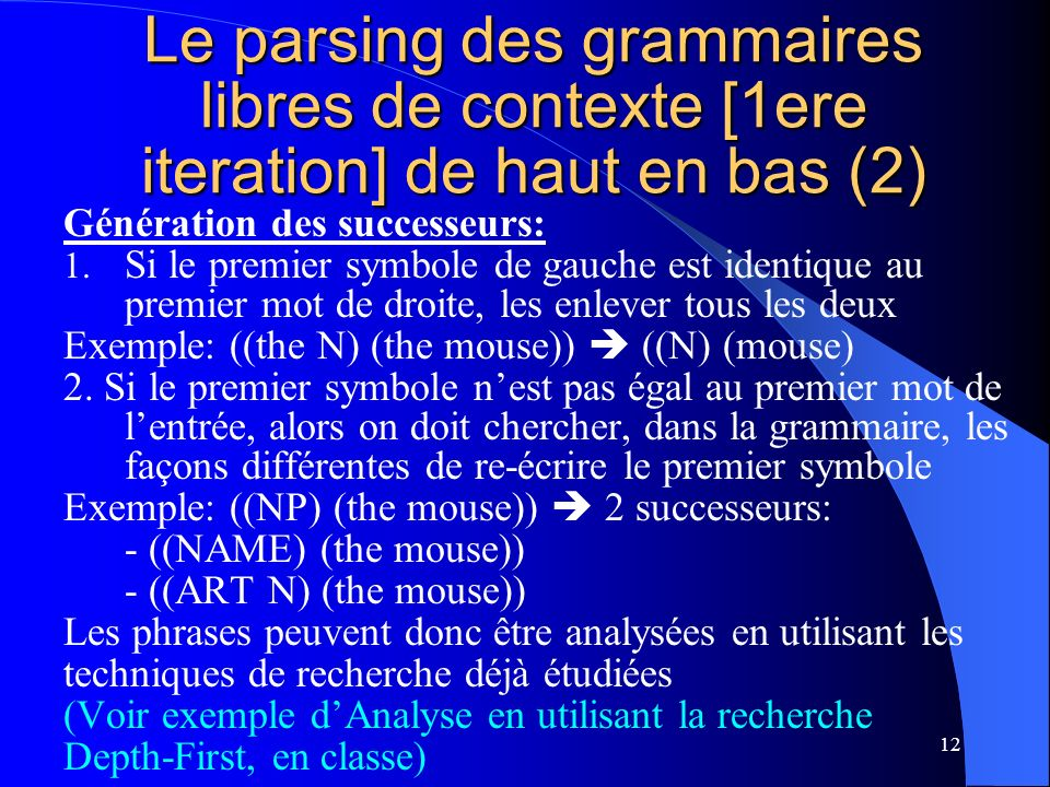 12 Le parsing des grammaires libres de contexte [1ere iteration] de haut en bas (2) Génération des successeurs: 1.