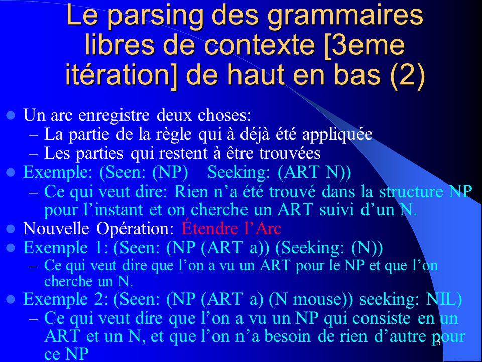 15 Le parsing des grammaires libres de contexte [3eme itération] de haut en bas (2) Un arc enregistre deux choses: – La partie de la règle qui à déjà été appliquée – Les parties qui restent à être trouvées Exemple: (Seen: (NP) Seeking: (ART N)) – Ce qui veut dire: Rien na été trouvé dans la structure NP pour linstant et on cherche un ART suivi dun N.
