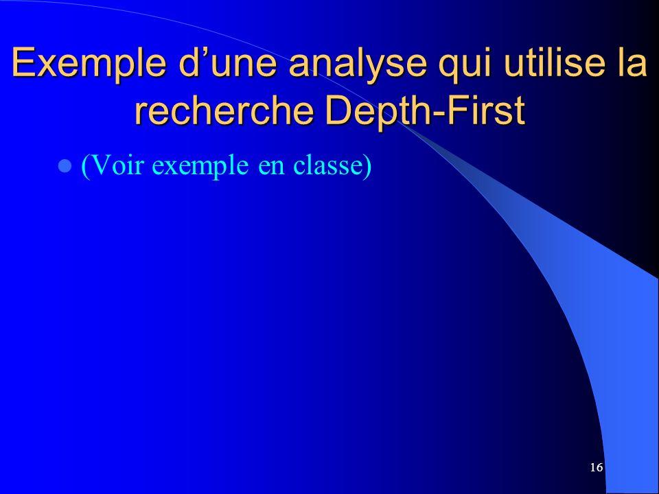 16 Exemple dune analyse qui utilise la recherche Depth-First (Voir exemple en classe)