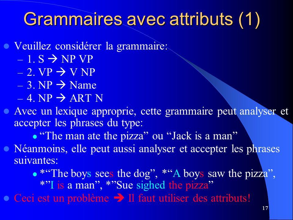 17 Grammaires avec attributs (1) Veuillez considérer la grammaire: – 1.