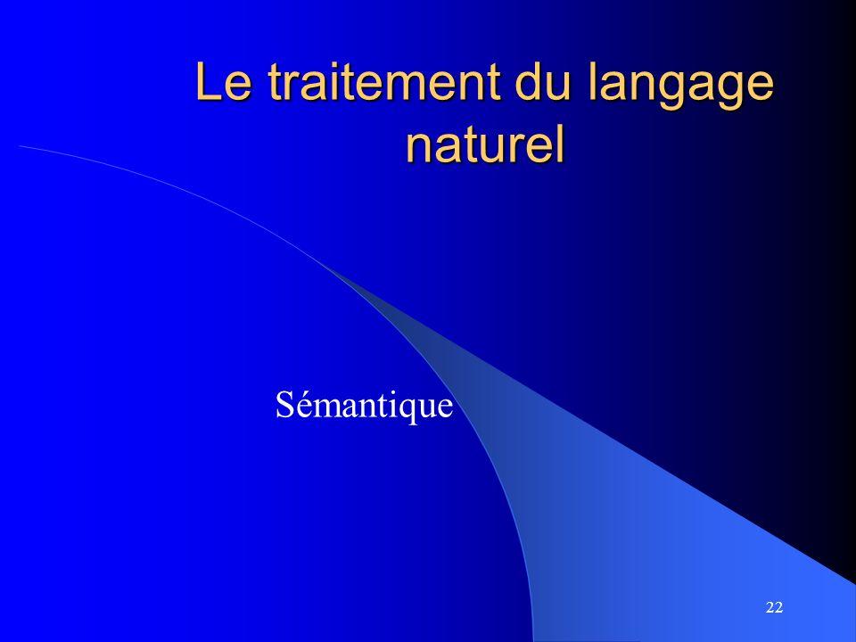 22 Le traitement du langage naturel Sémantique