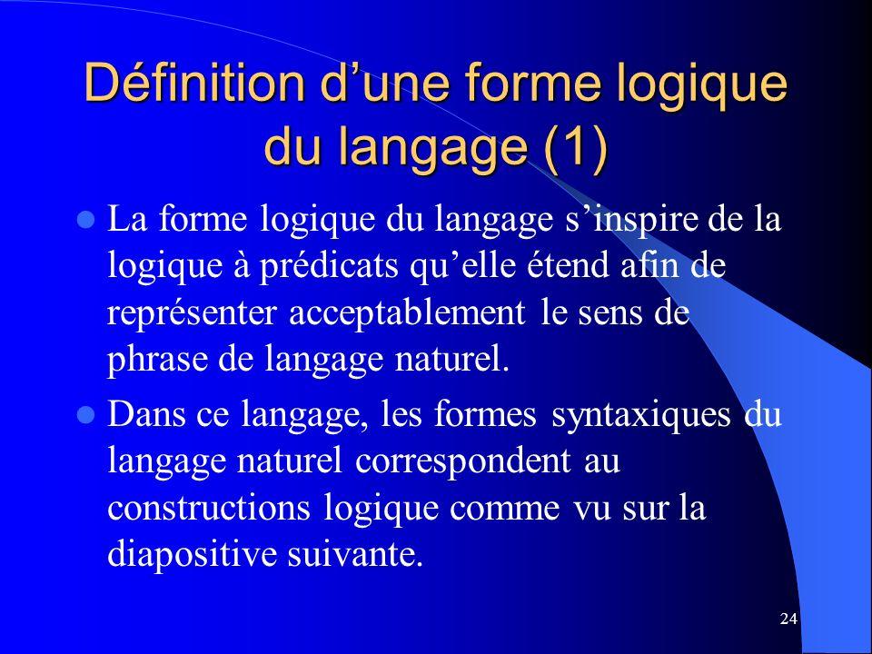 24 Définition dune forme logique du langage (1) La forme logique du langage sinspire de la logique à prédicats quelle étend afin de représenter acceptablement le sens de phrase de langage naturel.