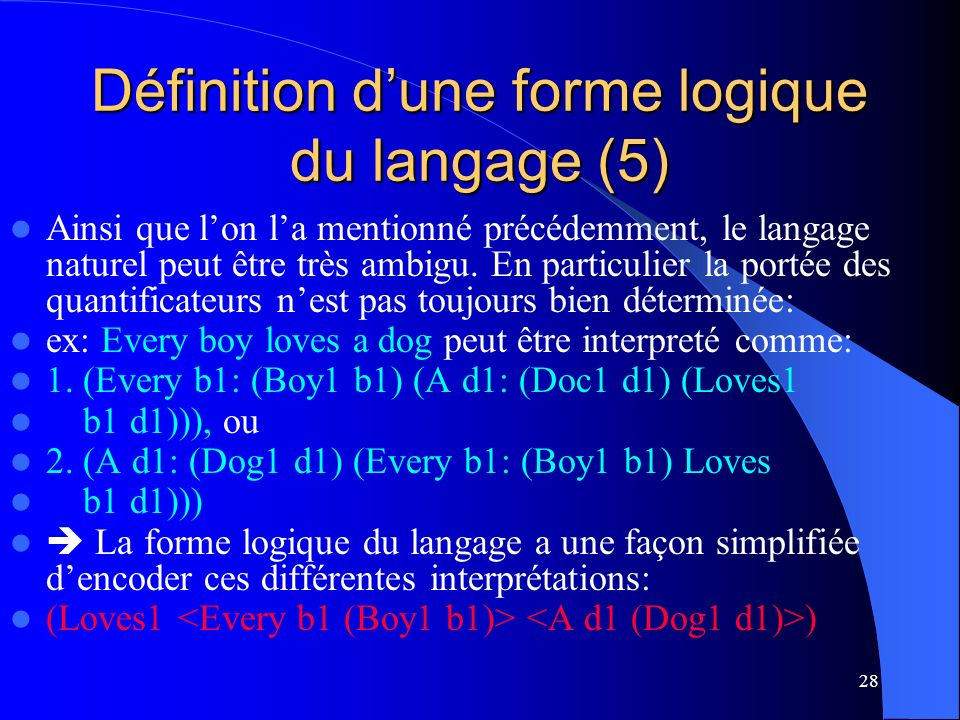 28 Définition dune forme logique du langage (5) Ainsi que lon la mentionné précédemment, le langage naturel peut être très ambigu.