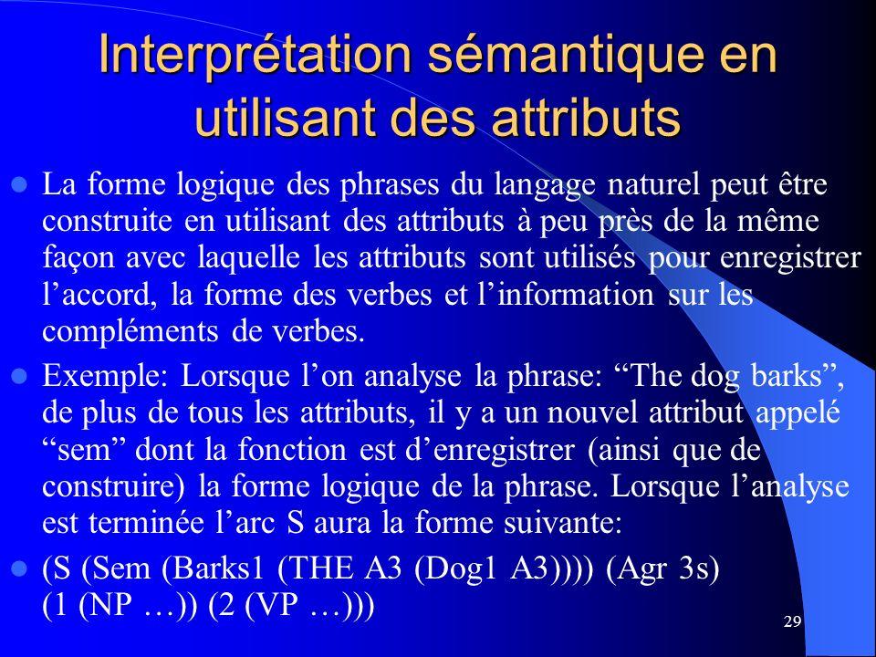 29 Interprétation sémantique en utilisant des attributs La forme logique des phrases du langage naturel peut être construite en utilisant des attributs à peu près de la même façon avec laquelle les attributs sont utilisés pour enregistrer laccord, la forme des verbes et linformation sur les compléments de verbes.