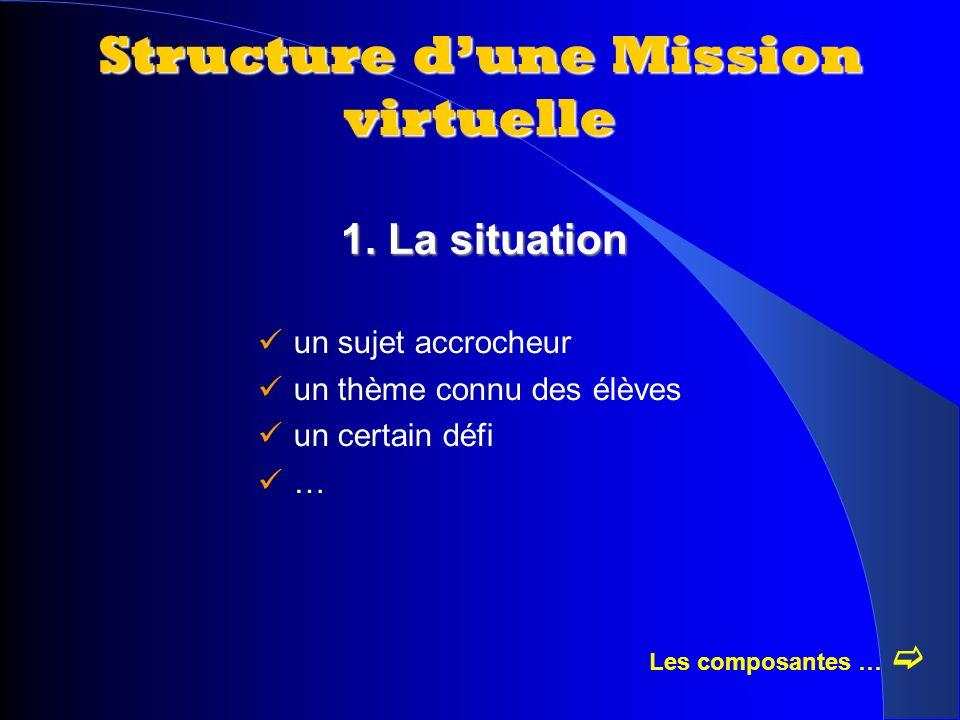 1. La situation Structure dune Mission virtuelle un sujet accrocheur un thème connu des élèves un certain défi … Les composantes …