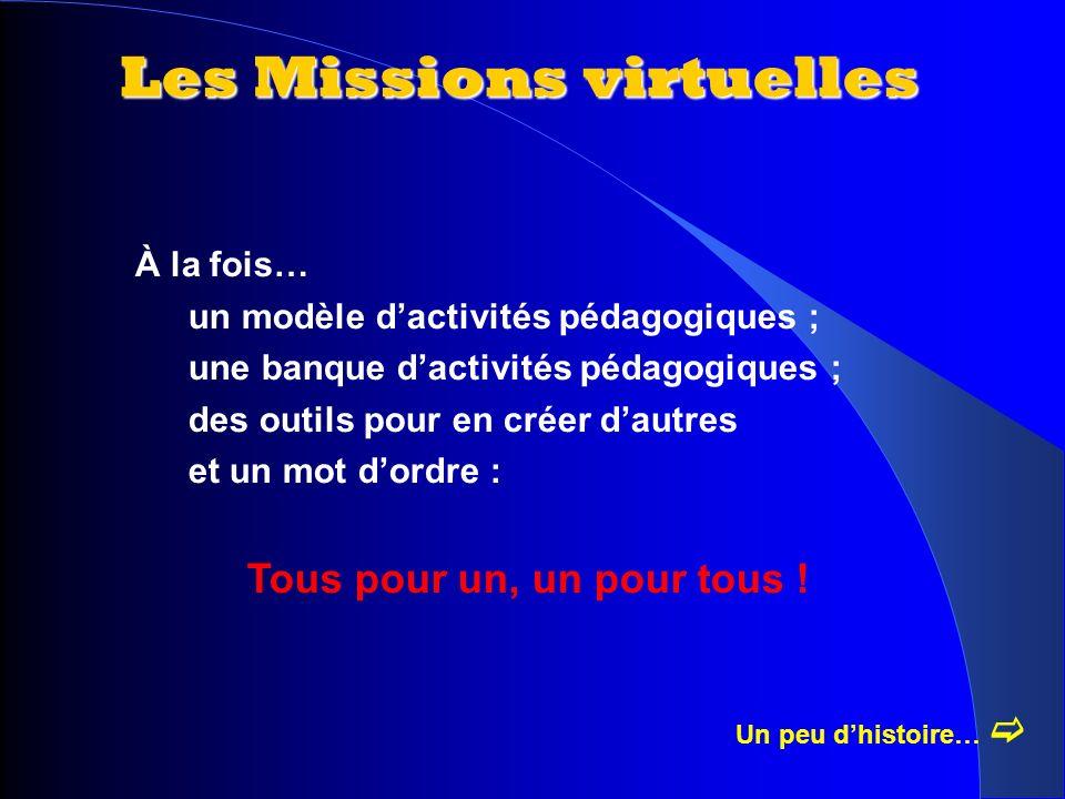 Les Missions virtuelles Un peu dhistoire… À la fois… un modèle dactivités pédagogiques ; une banque dactivités pédagogiques ; des outils pour en créer