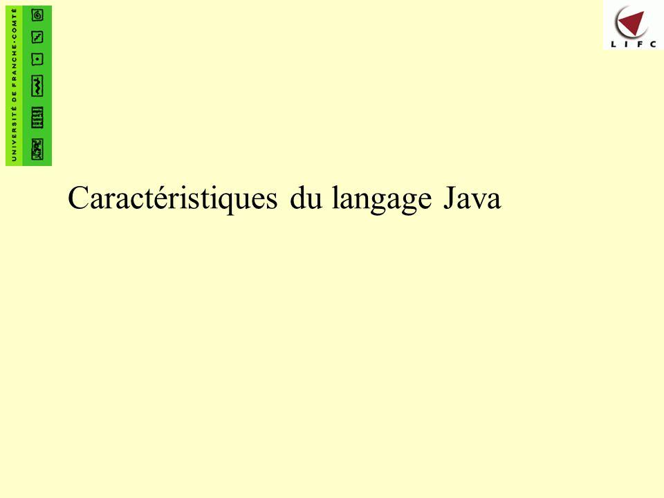 Caractéristiques du langage Java