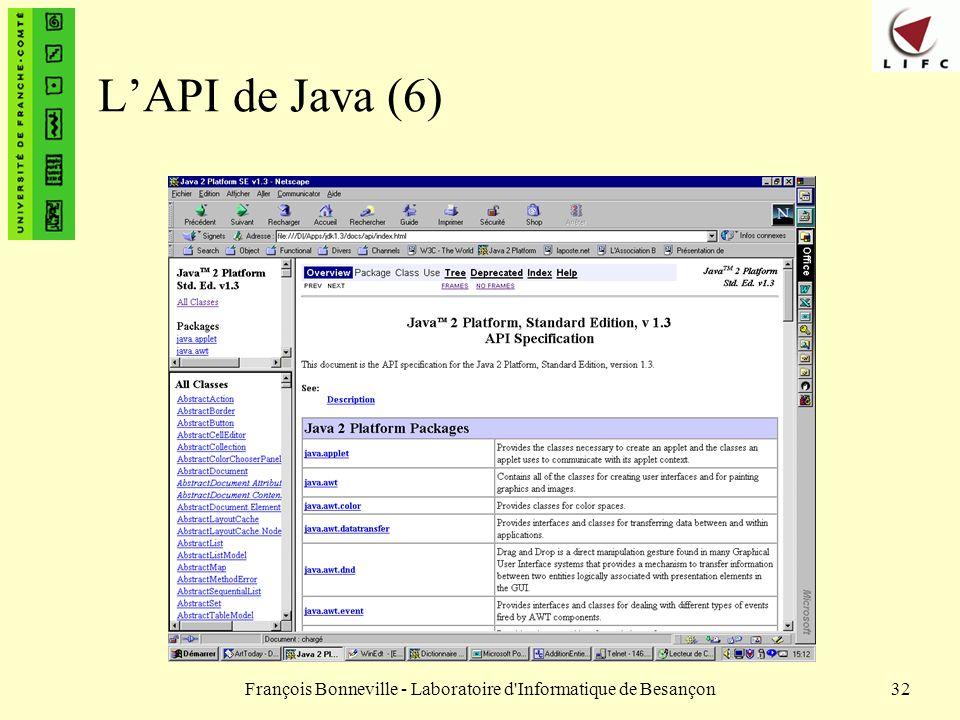 François Bonneville - Laboratoire d'Informatique de Besançon32 LAPI de Java (6)