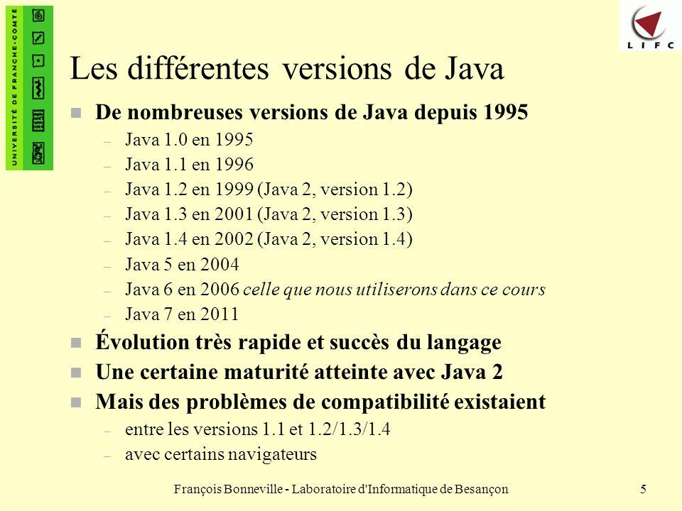 François Bonneville - Laboratoire d Informatique de Besançon26 Langage interprété Exécution Avant exécution Fichier de code Java MaClasse.java Compilation javac Autres byte code Machine virtuelle Java (JVM) java Cas de Java Byte code MaClasse.class