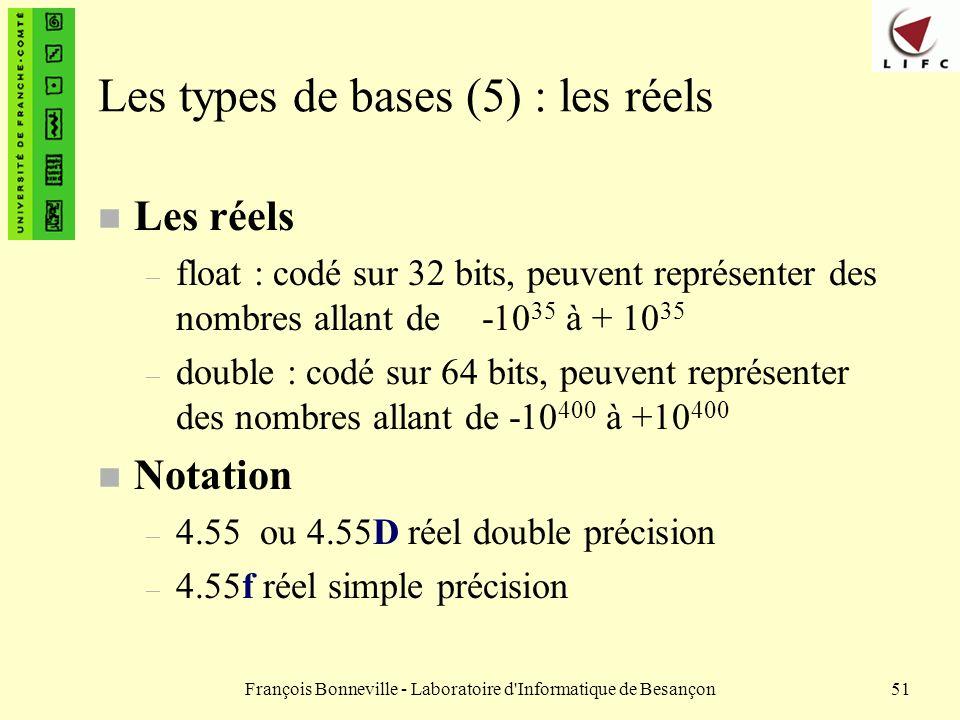 François Bonneville - Laboratoire d'Informatique de Besançon51 Les types de bases (5) : les réels n Les réels – float : codé sur 32 bits, peuvent repr