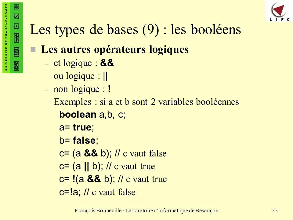 François Bonneville - Laboratoire d'Informatique de Besançon55 Les types de bases (9) : les booléens n Les autres opérateurs logiques – et logique : &