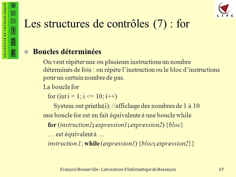 François Bonneville - Laboratoire d'Informatique de Besançon65 Les structures de contrôles (7) : for n Boucles déterminées – On veut répéter une ou pl