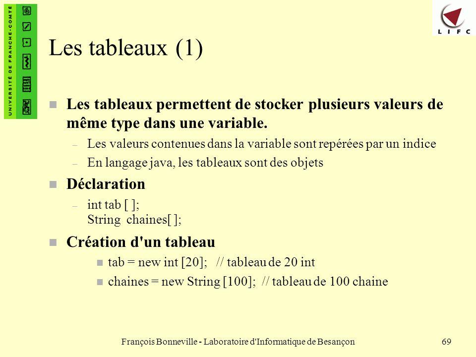 François Bonneville - Laboratoire d'Informatique de Besançon69 Les tableaux (1) n Les tableaux permettent de stocker plusieurs valeurs de même type da