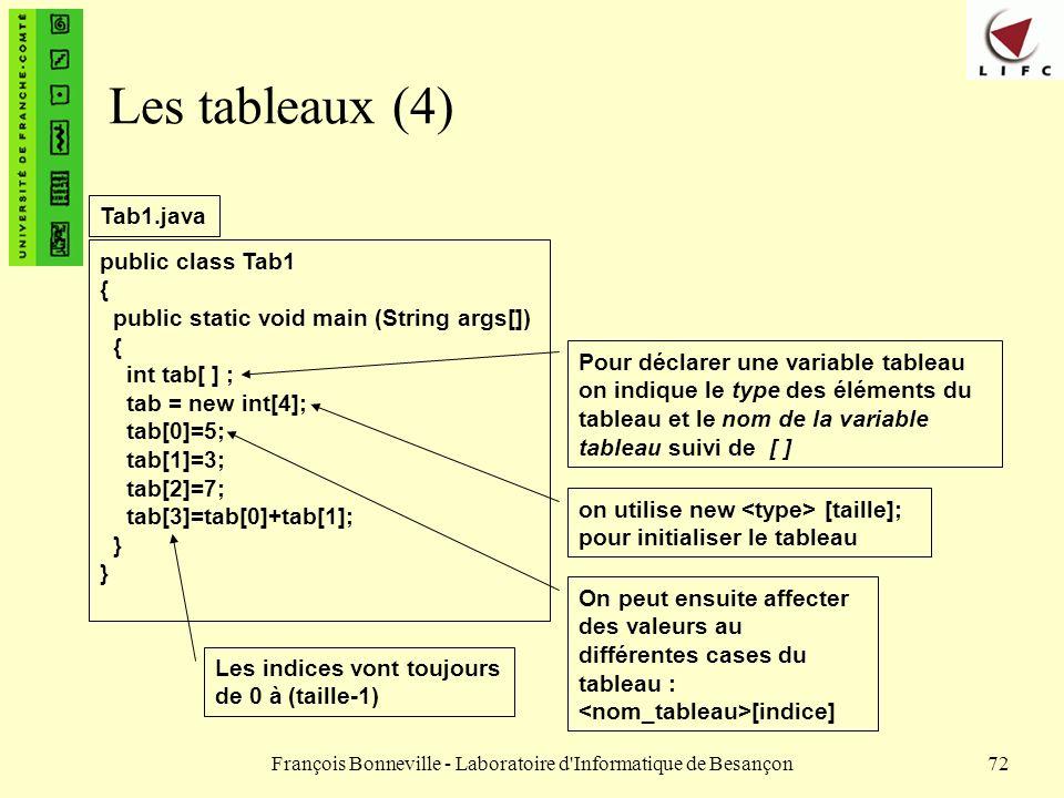 François Bonneville - Laboratoire d'Informatique de Besançon72 Les tableaux (4) public class Tab1 { public static void main (String args[]) { int tab[