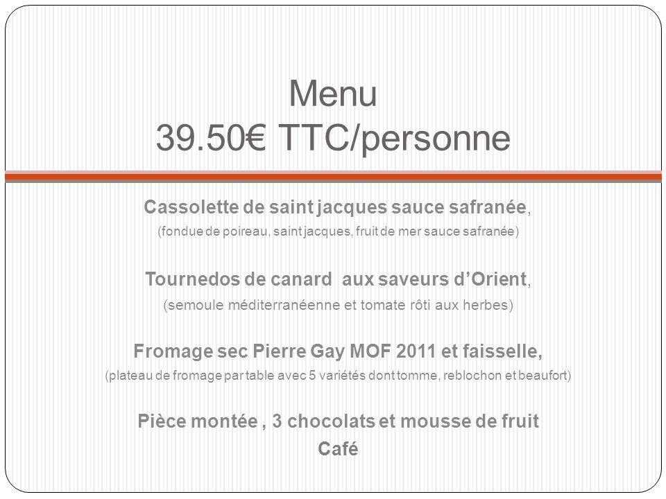 Saladbar : -Taboulé à lorientale - Salade piémontaise (pomme de terre, jambon, œuf, cornichon, tomate) - Salade de pates aux 2 saumons - Salade grec (tomate, olive, feta, basilic) - Assortiment de crudité (carotte, chou, salade verte) Charcuteries : Miche poivrée, Jambon cru et terrine de campagne Viande Froide : Poulet mariné, rosbeef et rôti de dinde Dessert : Salade de fruit frais, brioche et St Genis Brunch pour le lendemain 12/pers TTC