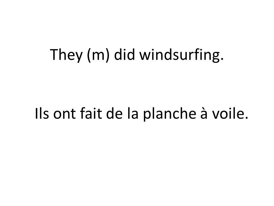 They (m) did windsurfing. Ils ont fait de la planche à voile.