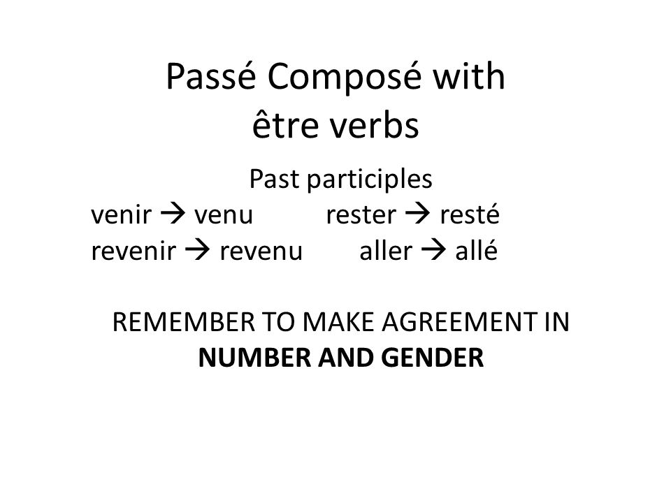 Passé Composé with être verbs Past participles venir venurester resté revenir revenualler allé REMEMBER TO MAKE AGREEMENT IN NUMBER AND GENDER