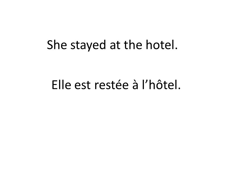 She stayed at the hotel. Elle est restée à lhôtel.