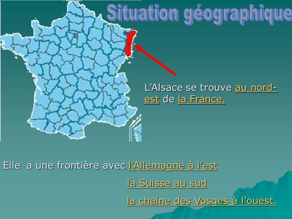 LAlsace se trouve au nord- est de la France. Elle a une frontière avec lAllemagne à lest la Suisse au sud la Suisse au sud la chaine des Vosges à loue