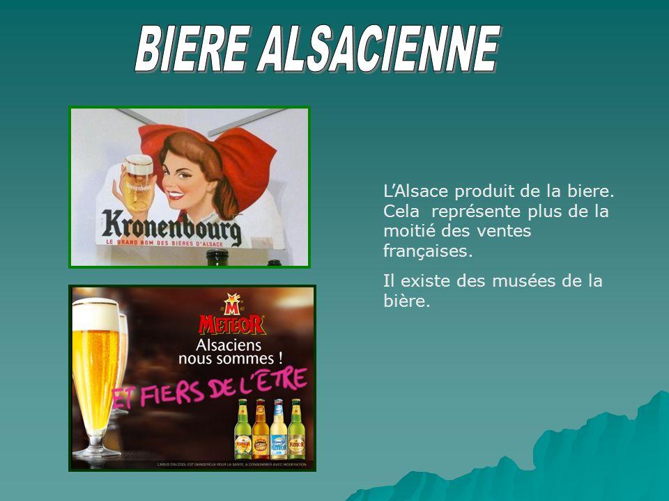LAlsace produit de la biere. Cela représente plus de la moitié des ventes françaises. Il existe des musées de la bière.