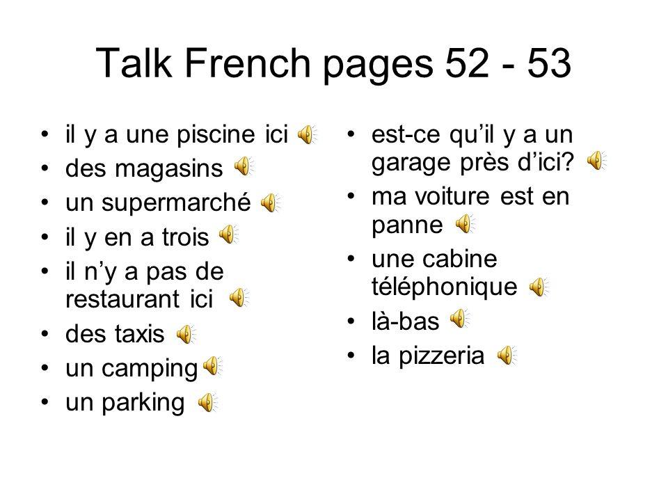 Talk French pages 46 - 47 jhabite tu habites il habite nous habitons vous habitez ils habitent en ville à la campagne dans un petit village je travaille dans un bureau chez Peugeot chez moi pour une compagnie mère de famille au chômage retraité étudiant