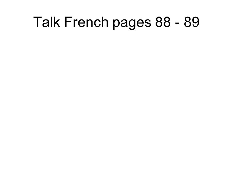 Talk French pages 82 - 83