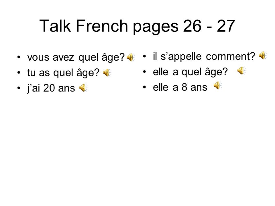 Talk French pages 74 - 75