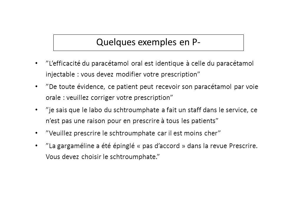 Quelques exemples en P- Lefficacité du paracétamol oral est identique à celle du paracétamol injectable : vous devez modifier votre prescription De to