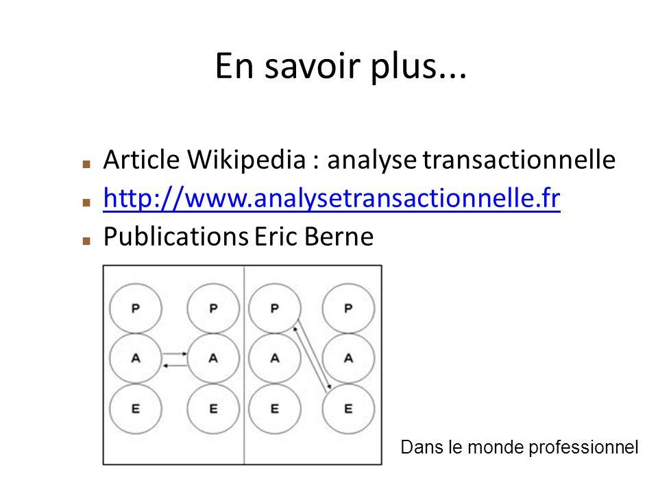 En savoir plus... Article Wikipedia : analyse transactionnelle http://www.analysetransactionnelle.fr Publications Eric Berne Dans le monde professionn