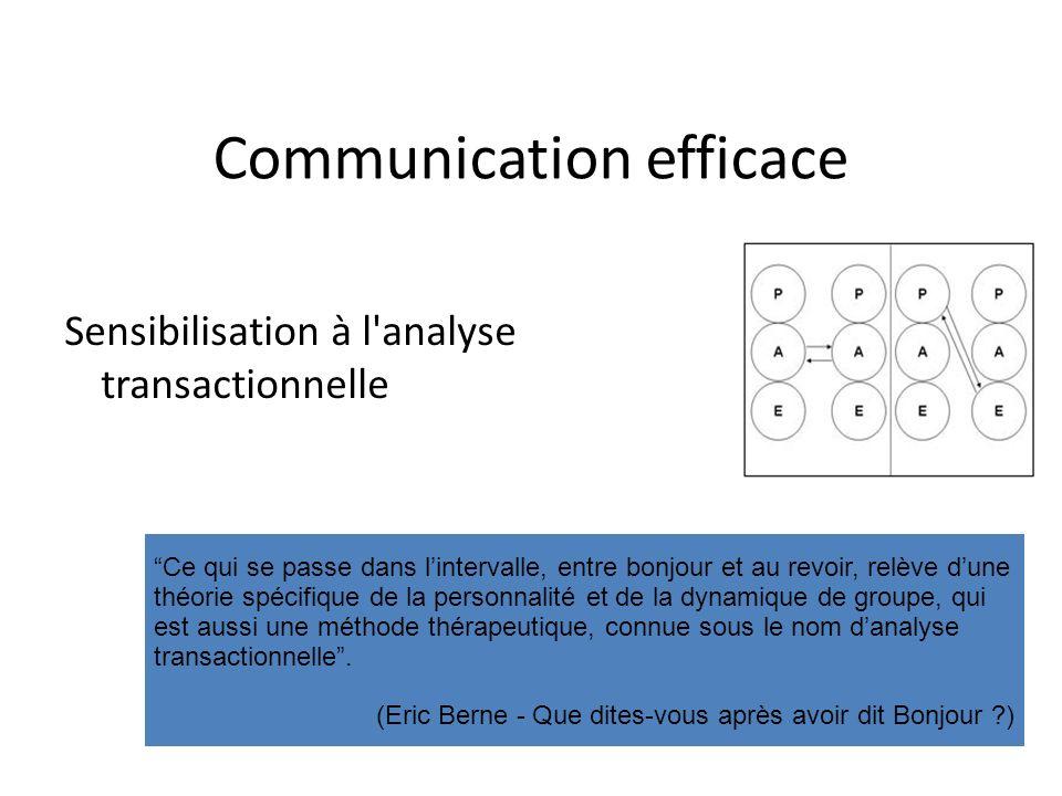 Communication efficace Sensibilisation à l'analyse transactionnelle Ce qui se passe dans lintervalle, entre bonjour et au revoir, relève dune théorie