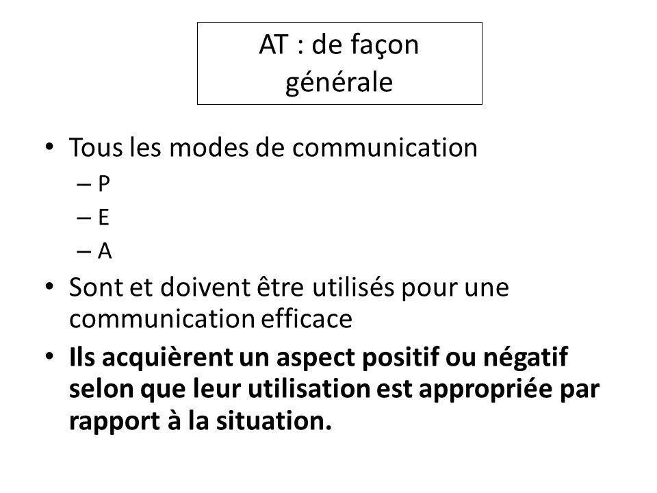 AT : de façon générale Tous les modes de communication – P – E – A Sont et doivent être utilisés pour une communication efficace Ils acquièrent un asp