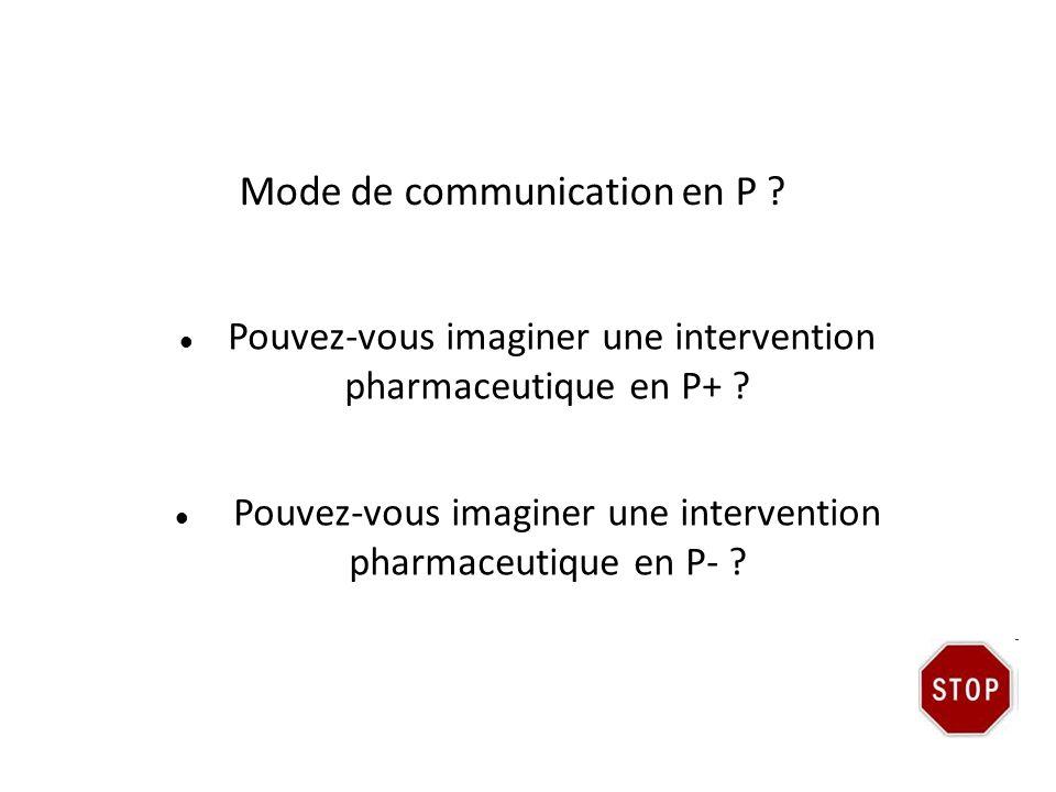 Mode de communication en P ? Pouvez-vous imaginer une intervention pharmaceutique en P+ ? Pouvez-vous imaginer une intervention pharmaceutique en P- ?