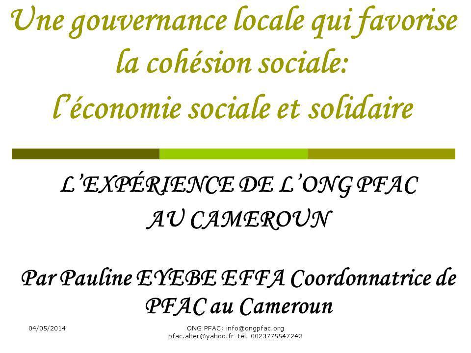 04/05/2014ONG PFAC; info@ongpfac.org pfac.alter@yahoo.fr tél. 0023775547243 Une gouvernance locale qui favorise la cohésion sociale: léconomie sociale