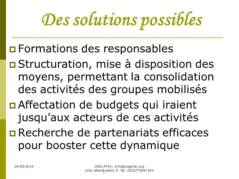 04/05/2014ONG PFAC; info@ongpfac.org pfac.alter@yahoo.fr tél. 0023775547243 Des solutions possibles Formations des responsables Structuration, mise à