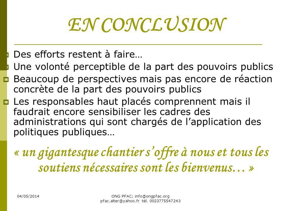 04/05/2014ONG PFAC; info@ongpfac.org pfac.alter@yahoo.fr tél. 0023775547243 EN CONCLUSION Des efforts restent à faire… Une volonté perceptible de la p