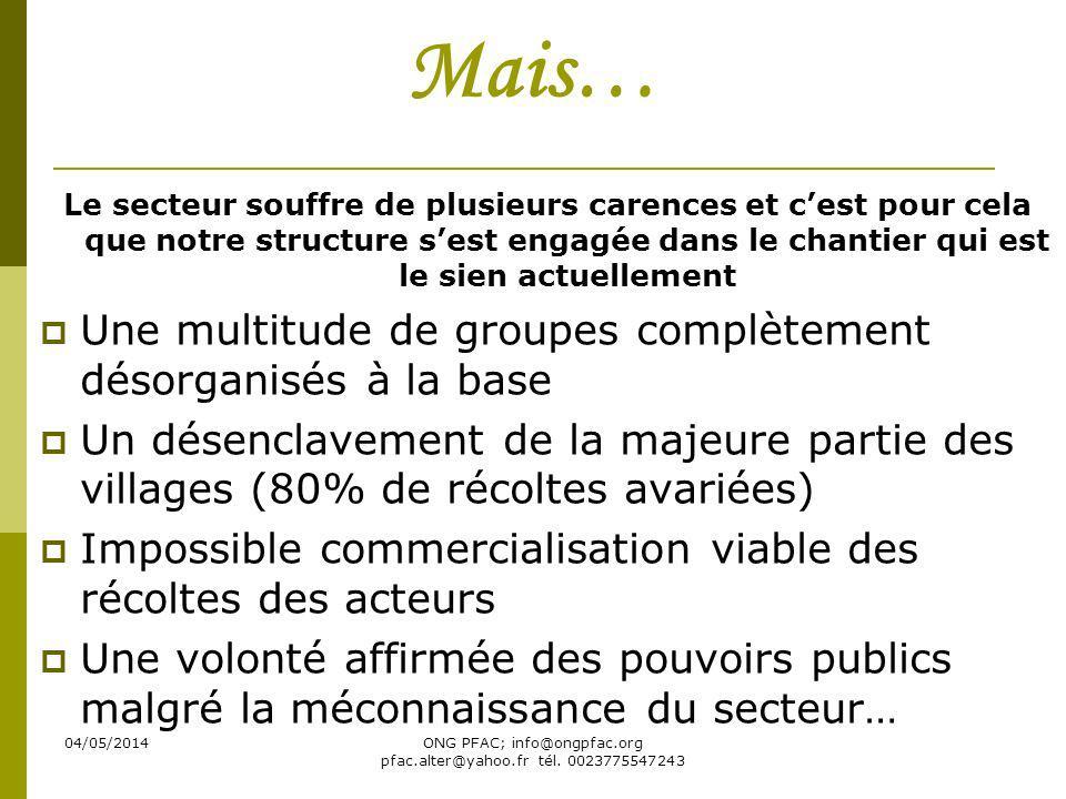 04/05/2014ONG PFAC; info@ongpfac.org pfac.alter@yahoo.fr tél. 0023775547243 Mais… Le secteur souffre de plusieurs carences et cest pour cela que notre