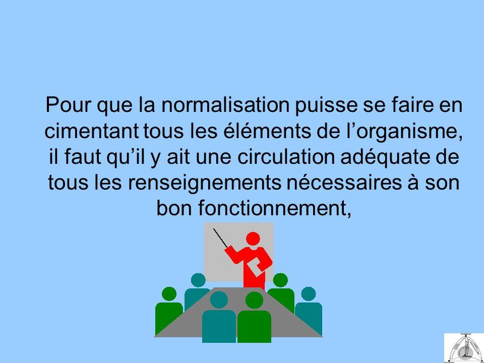 Pour que la normalisation puisse se faire en cimentant tous les éléments de lorganisme, il faut quil y ait une circulation adéquate de tous les renseignements nécessaires à son bon fonctionnement,