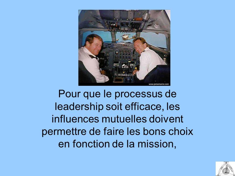 Pour que le processus de leadership soit efficace, les influences mutuelles doivent permettre de faire les bons choix en fonction de la mission,