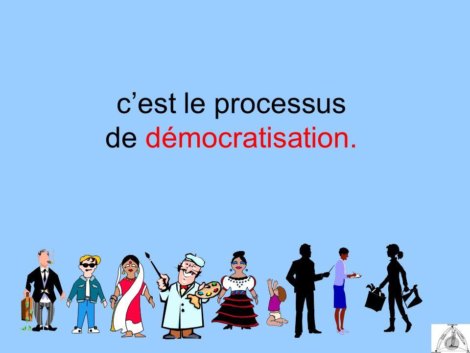 cest le processus de démocratisation.