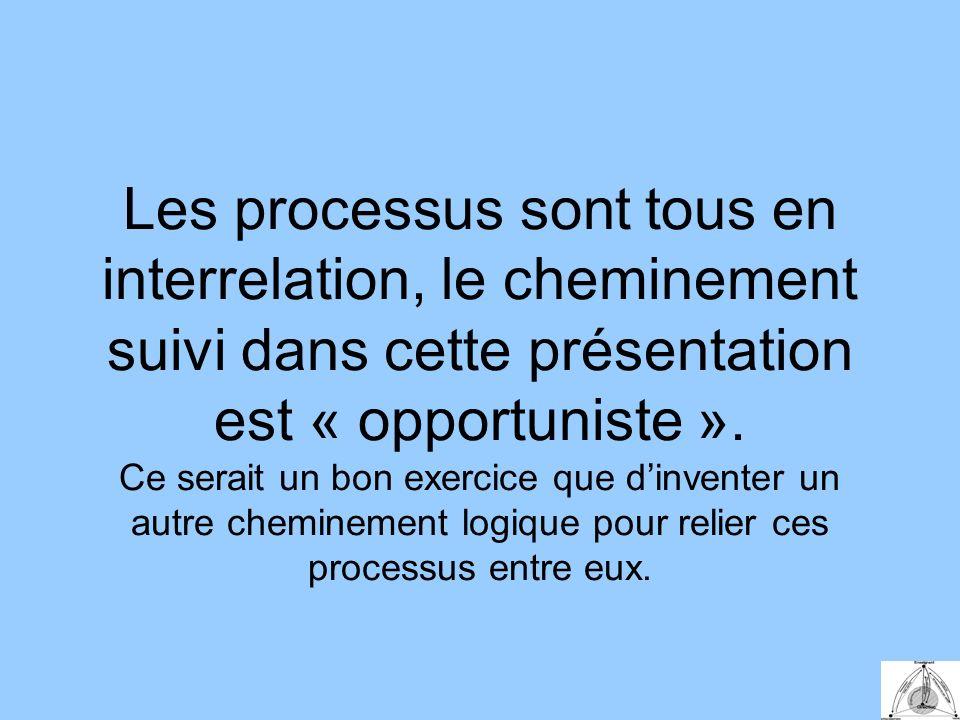 Les processus sont tous en interrelation, le cheminement suivi dans cette présentation est « opportuniste ».