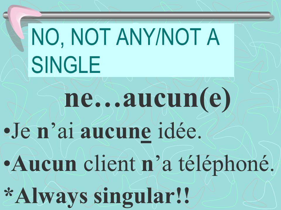 NO, NOT ANY/NOT A SINGLE ne…aucun(e) Je nai aucune idée.