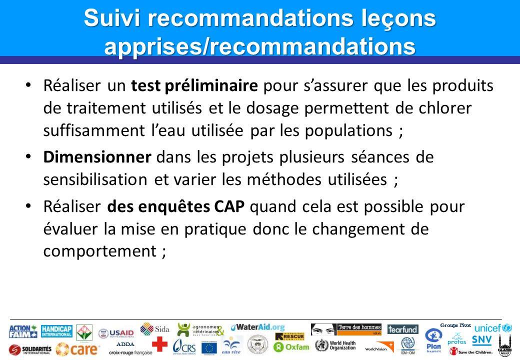 Groupe Pivot ADDA Suivi recommandations leçons apprises/recommandations Réaliser un test préliminaire pour sassurer que les produits de traitement uti